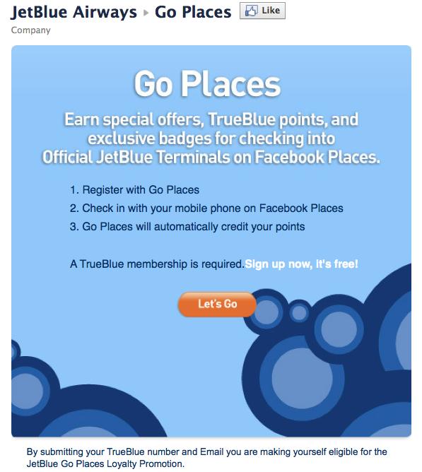 jetblue links loyalty program to facebook places rewarding loyal