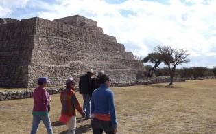 Trekkers explore Coyote Canyon Pyramids.
