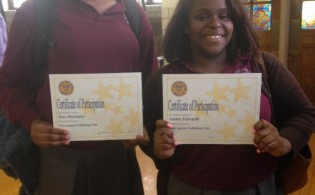 St. Joseph's HS students Taya Simmons and Amber Edwards received certificates  for participation in the Girls Against Trafficking Club.