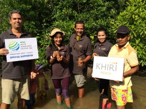 Khiri Travel planting mangrove trees at Bangrong Pier in Phuket, Thailand to honor World Responsible Tourism Day