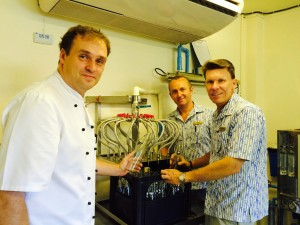 David Martens (right) Area General Manager of CKBR leads his team, Steffen Hoffer (left) Executive Chef and Zafer Tasci (centre) Director of Food & Beverage for a water bottling plant, the resort's activity to conserve environment.