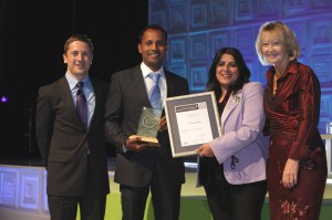 Community Award Winner 2015 Graham Miller, Tourism for Tomorrow Lead Judge and Winner - Reality Tours and Travel, India, Krishna Pujari, Co-Founder and Manal Saad Kelig, Community Award Judge and Fiona Jeffery OBE, Chair Tourism for Tomorrow Awards