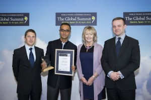 Environment Award Winner 2015 Graham Miller, Tourism for Tomorrow Lead Judge, Winner - The Soneva Group, Maldives and Thailand, Sonu Shivdasani, CEO & Chairman, Fiona Jeffery OBE, Chair Tourism for Tomorrow Awards, Environment Award Sponsor, Tristan Kirchner, Executive Director, Visa Europe