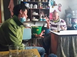 Karna Tamang in Kathmandu tells a friend about bringing his group down from Everest Base Camp after the avalanche.