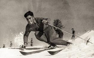 ENGADIN St. Moritz: Skifahren in Pontresina, 1946