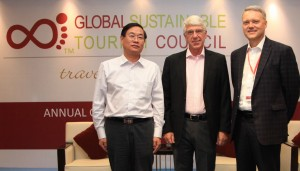 From left to right: Executive Director, HSAC Rotating Chairman, CMTA Mr. Huang Linmu; Chair GSTC Mr. Luigi Cabrini; CEO GSTC Mr. Randy Durband.