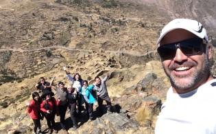 Press group selfie in archeological site of Ancasmarca