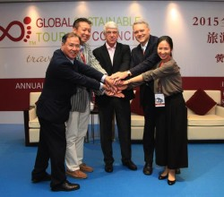 AEN board members: on the left, Dr. Alan Wong, Hong Kong; Masaru Takayama, Japan; on the right Dr. Mihee Kang, South Korea; in the center GSTC Chair Luigi Cabrini and CEO Randy Durband