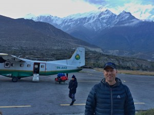 Shannon Stowell at the breathtaking Jomsom airport. Photo © Shannon Stowell