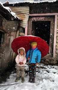 Namaste. Namaste. These two little voices greeted the Everest group as they walked into Tengboche. Photo © Maureen Seeley