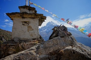 A stupa high about Namche, on the Everest itinerary. Photo © Christophe Noel