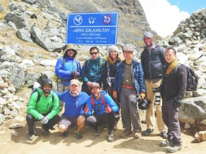 Arrival at Mt Salkantay peak with GLP crew
