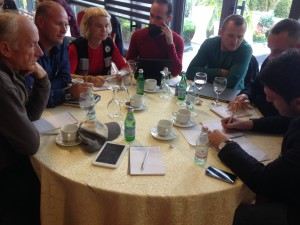 AdventureEDU participants discuss ideas around product development.