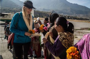AdventureWeek Rebound Nepal participant is welcomed by local Nepali.