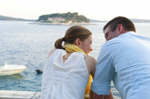 couple looking at island
