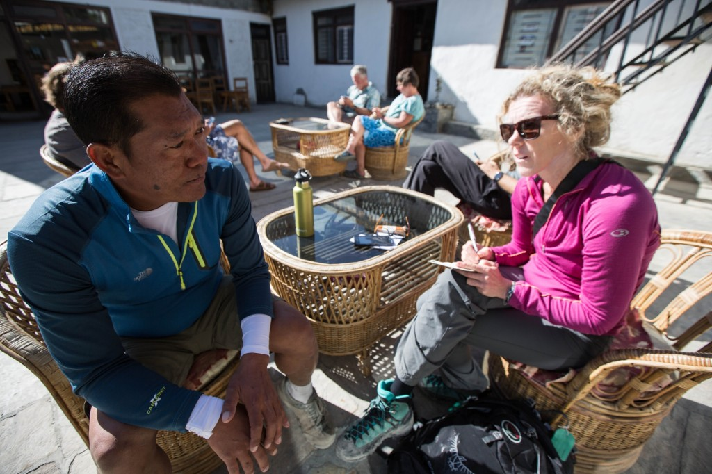 Stephanie Pearson conducts an interview for a story about AdventureWeek Rebound Nepal  © ATTA / Eric Larsen