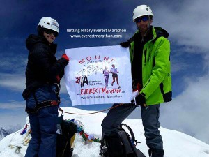 Two members from Island Peak group in Everest Marathon 2016, after summiting the Island Peak, despite harsh weather conditions.