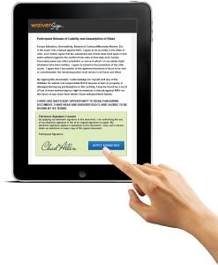 WaiverSign iPad-Hand