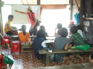 Rebecca Mazzaro at a school in Burma