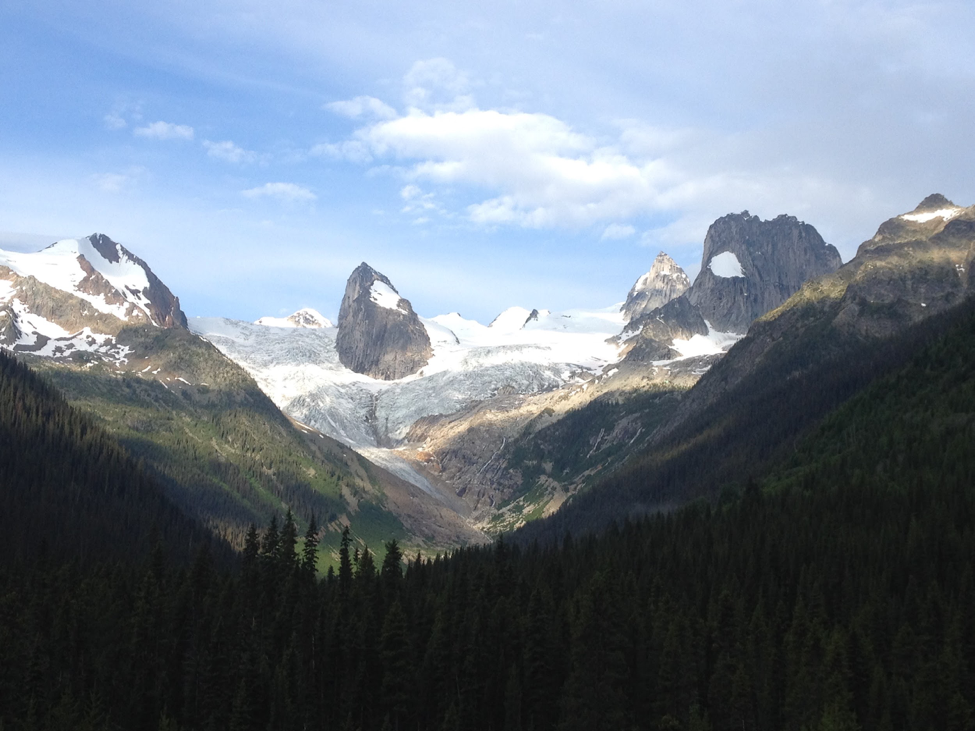 The view of the Bugaboos spires from CMH's Bugaboo Lodge. Photo credit: Jennifer Pemberton