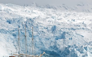 Oceanwide Expeditions' three-masted schooner, the SV Rembrandt van Rijn. Credit: Kari Medig