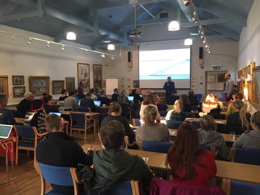 Bård Jervan, Innovative Opplevelser, Cluster Leader, addresses adventure tourism cluster during the 10th Innovative Experiences conference in Lofoten, Norway