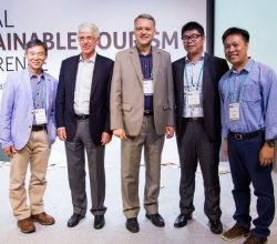 From left to right: Mr. Steven Cheung, Infinity (Int'l) TRavel Holding Ltd. CEO; Mr. Luigi Cabrini, GSTC Chair; Mr. Randy Durband, GSTC CEO; Mr. Derek Tse, HKTraveler.com Ltd. General Manager; Dr. Cheung Ting On Lewis, Assistant Professor The Education University of Hong Kong