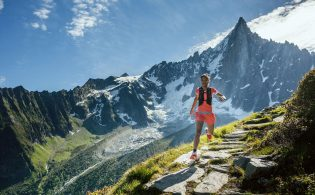 Rai trains around Chamonix before winning the Mont-Blanc 80KM in 2015. PHOTOGRAPH BY JORDI SARAGOSSA