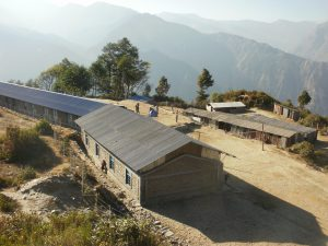 Temporary classrooms constructed at the site of Shree Manjushree Secondary School help accommodate the 365 children affected by the damage.