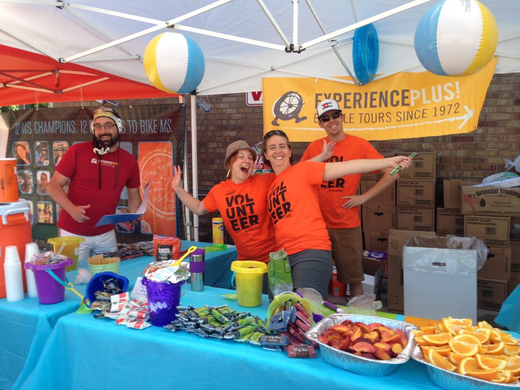ExperiencePlus! Fort Collins staff members volunteer at the annual BikeMS charity ride. © ExperiencePlus! Bicycle Tours