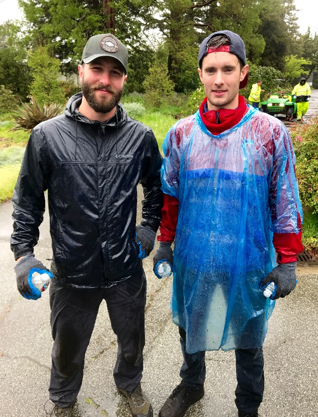 Mountain Travel Sobek staffers Michael O'Connell and T. Mac Lee assist with local landscaping. - © Michael O'Connell