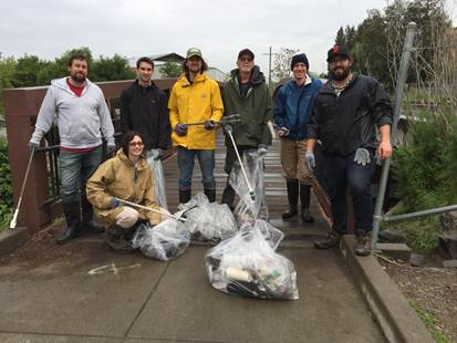 AmeriCan Adventures staff carves out time to clean up Santa Rosa Creek. - © Alistair Bleifuss