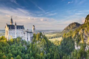 Hohenschwangau, Germany - September 25, 2013: Neuschwanstein Castle in the Bavarian Alps of Germany. The castle was commissioned by Ludwig II and completed in 1892.