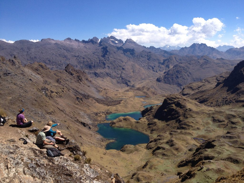 Adult VIP family from Scandinavia taking a break on the Lares Trek to Machu Picchu. © Vamos Expeditions